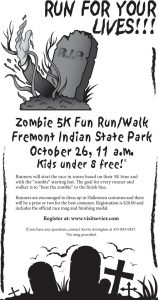 Advertisement design by Graphic Artist Dallas Price for Zombie Fun Run. Published in The Richfield Reaper 10/09/2013.