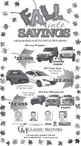 Advertisement design by Graphic Artist Dallas Price for Classic Motors. Published in The Richfield Reaper 10/23/2013.