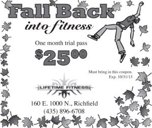 Advertisement design by Graphic Artist Dallas Price for Lifetime Fitness. Published in The Richfield Reaper 10/23/2013.