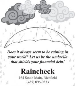Advertisement design by Graphic Artist Dallas Price for Raincheck. Published in The Richfield Reaper 10/23/2013.