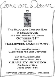 Advertisement design by Graphic Artist Dallas Price for The Saddlery Cowboy Bar and Steakhouse. Published in The Richfield Reaper 10/23/2013.