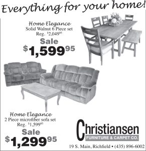 Advertisement design by Graphic Artist Dallas Price for Christiansen Furniture. Published in The Richfield Reaper 10/30/2013.