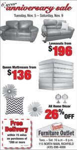 Advertisement design by Graphic Artist Dallas Price for Discount Furniture Outlet. Published in The Richfield Reaper 11/06/2013.