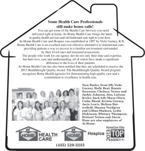 Advertisement design by Graphic Artist Dallas Price for At Home Health Care. Published in The Richfield Reaper 11/20/2013.