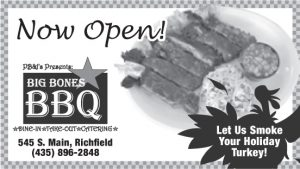 Advertisement design by Graphic Artist Dallas Price for Big Bones Barbeque. Published in The Richfield Reaper 11/20/2013.