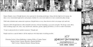 Advertisement design by Graphic Artist Dallas Price for Knight Interiors. Published in The Richfield Reaper 11/20/2013.