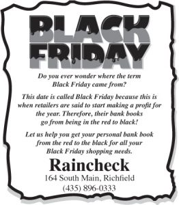 Advertisement design by Graphic Artist Dallas Price for Raincheck. Published in The Richfield Reaper 11/20/2013.