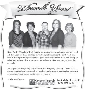 Advertisement design by Graphic Artist Dallas Price for State Bank of Southern Utah. Published in The Richfield Reaper 11/20/2013.