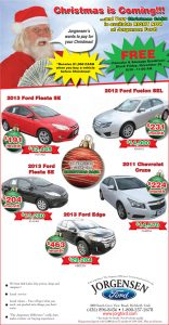 Advertisement design by Graphic Artist Dallas Price for Jorgensen Ford. Published in The Richfield Reaper 11/27/2013.