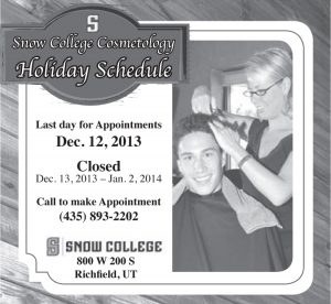 Advertisement design by Graphic Artist Dallas Price for Snow College Cosmotolgy. Published in The Richfield Reaper 12/04/13.