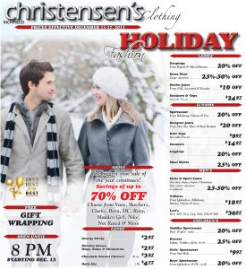 Advertisement design by Graphic Artist Dallas Price for Christensen's Clothing. Published in The Richfield Reaper 12/11/2013.