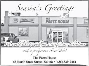 Advertisement design by Graphic Artist Dallas Price for The Parts House. Published in The Richfield Reaper 12/18/2013.