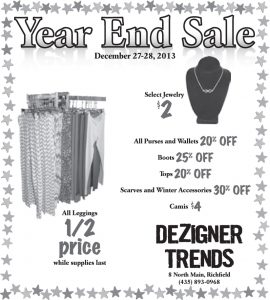 Advertisement design by Graphic Artist Dallas Price for Dezigner Trends. Published in The Richfield Reaper 12/25/2013.