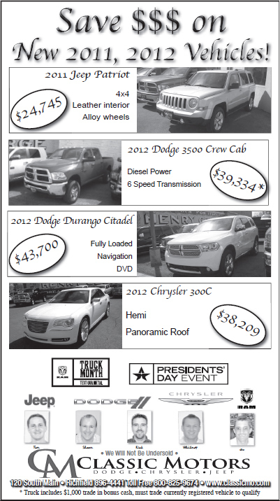 Advertisement design by Graphic Artist Dallas Price for Classic Motors Published in The Richfield Reaper 03/28/12defined