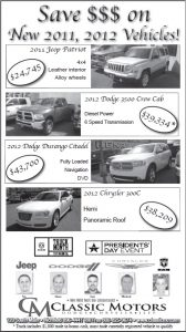 Advertisement design by Graphic Artist Dallas Price for Classic Motors Published in The Richfield Reaper 03/28/12