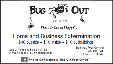 Advertisement design by Graphic Artist Dallas Price for Bug Out Pest Control. Published in The Richfield Reaper 04/04/2012.