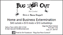 Advertisement design by Graphic Artist Dallas Price for Bug Out. Published in The Richfield Reaper 04/04/2012.