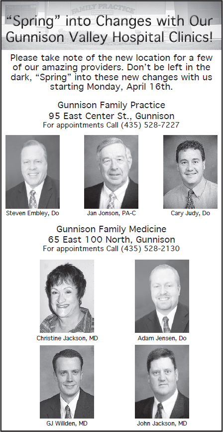 Advertisement design by Graphic Artist Dallas Price for Gunnison Valley Hospital. Published in The Richfield Reaper 04/11/2012.