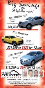 Advertisement design by Graphic Artist Dallas Price for High Country Auto. Published in The Richfield Reaper 04/18/2012.