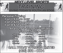 Advertisement design by Graphic Artist Dallas Price for Next Level Sports. Published in The Richfield Reaper 04/18/2012.