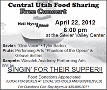 Advertisement design by Graphic Artist Dallas Price for Sevier Valley Center. Published in The Richfield Reaper 04/18/2012.