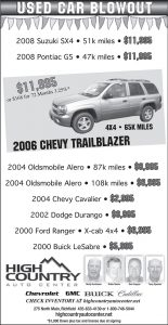 Advertisement design by Graphic Artist Dallas Price for High Country Auto. Published in The Richfield Reaper 05/09/2012.