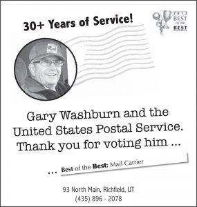 Advertisement design by Graphic Artist Dallas Price for United States Postal Service. Published in The Richfield Reaper 05/23/2012.