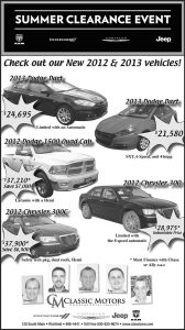 Advertisement design by Graphic Artist Dallas Price for Classic Motors. Published in The Richfield Reaper 08/15/2012.