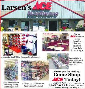 Advertisement design by Graphic Artist Dallas Price for Larsen's Ace Hardware. Published in The Richfield Reaper 09/12/2012.