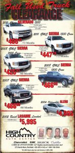 Advertisement design by Graphic Artist Dallas Price for High Country Auto Center. Published in The Richfield Reaper 09/26/2012.