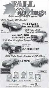 Advertisement design by Graphic Artist Dallas Price for Classic Motors. Published in The Richfield Reaper 10/10/2012.