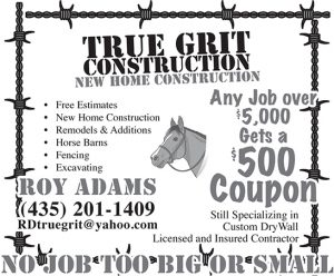 Advertisement design by Graphic Artist Dallas Price for True Grit Construction. Published in The Richfield Reaper 12/12/2012.