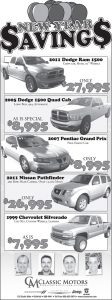 Advertisement design by Graphic Artist Dallas Price for Classic Motors. Published in The Richfield Reaper 12/26/2012.