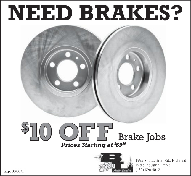 Advertisment design by Graphic Artist Dallas Price for B and L Auto. Published in The Richfield Reaper 03/12/2014