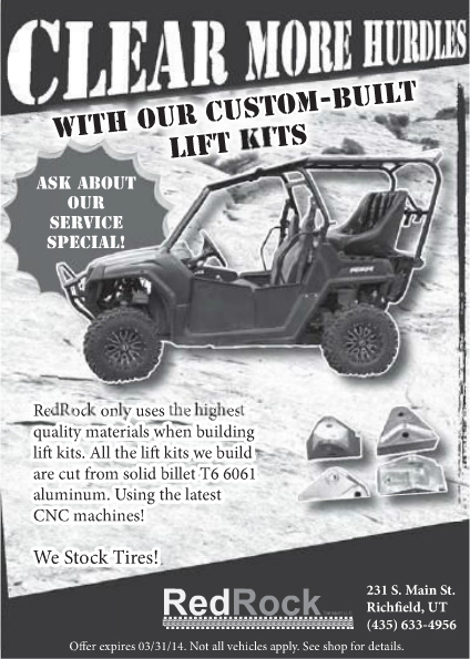 Advertisment design by Graphic Artist Dallas Price for Redrock. Published in The Richfield Reaper 03/12/2014
