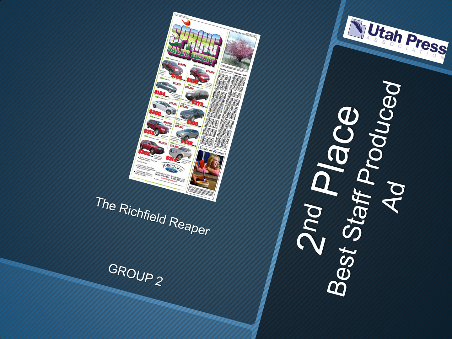 One of my Jorgensen Ford ads from 2013 won second place at the annual Better Newspaper Contest