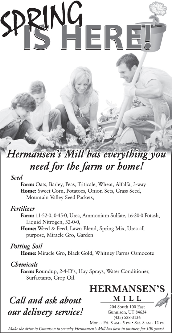 Advertisement design by Graphic Artist Dallas Price for Hermansen's Mill. Published in The Richfield Reaper 03/26/2014.