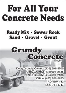 Advertisement design by Graphic Artist Dallas Price for Grundy Concrete. Published in The Richfield Reaper 04/23/2014.