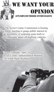 Advertisement design by Graphic Artist Dallas Price for Sevier County. Published in The Richfield Reaper 04/23/2014.