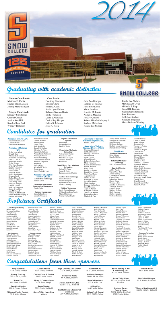 Graduation page designed by Graphic Artist Dallas Price for the 2014 graduates of Snow College Richfield. Published in The Richfield Reaper 04/30/2014.