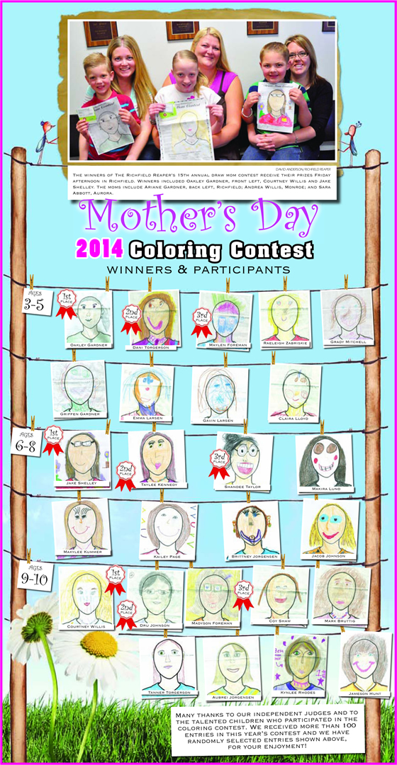 Mother's day coloring contest page. Published in The Richfield Reaper 05/07/2014.