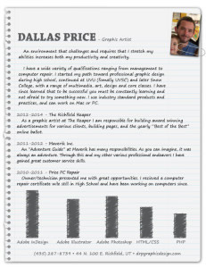 Graphic artist Dallas Price resume design