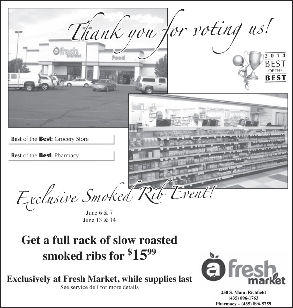 Advertisement design by Graphic Designer Dallas Price for Fresh Market. Published in The Richfield Reaper 06/04/14.