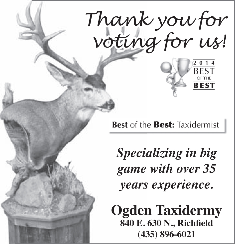 Advertisement design by Graphic Designer Dallas Price for Ogden Taxidermy. Published in The Richfield Reaper 06/04/14.