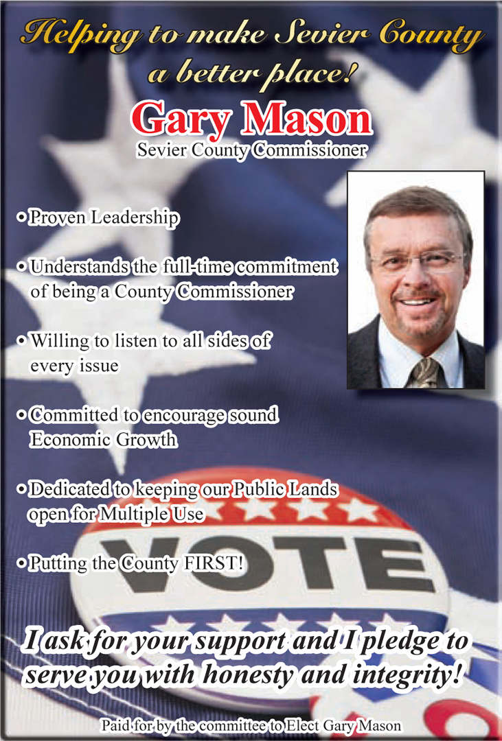 Advertisement design by Graphic Designer Dallas Price for Gary Mason. Published in The Richfield Reaper 06/04/14.