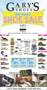 Advertisement design by Graphic Designer Dallas Price for Gary's Shoes. Published in The Richfield Reaper 06/11/2014.