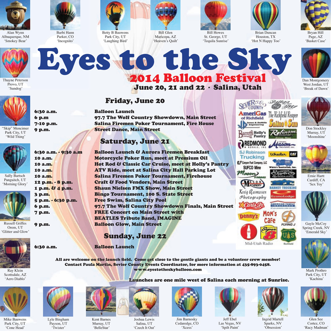 Advertisement design by Graphic DesignerJennifer Dorgan for Eye's to the Sky Balloon Festival. Published in The Richfield Reaper 06/11/2014.