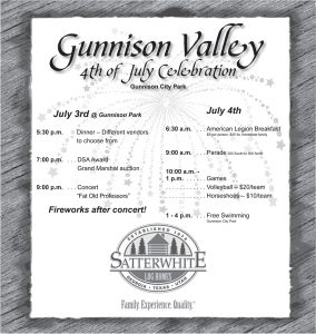Advertisement design by Graphic Designer Dallas Price for Gunnison Valley's 4th of July celebration, sponsored by Satterwhite Log Homes. Published in The Richfield Reaper 06/25/2014.