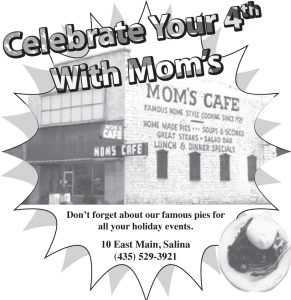 Advertisement design by Graphic Designer Dallas Price for Mom's Cafe. Published in The Richfield Reaper 06/25/2014.