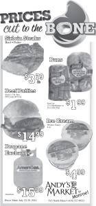 Advertisement design by Graphic Designer Dallas Price for Andy's Market. Published in The Richfield Reaper 07/23/2014.